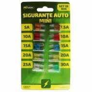 Set 10 sigurante auto mini RoGroup, 12V